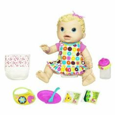 Baby Alive Changing Time Baby - Blonde by Hasbro. $71.80. She?s ready to play and cuddle with her ?mommy?. Mix up her ?food? and change her ?diaper? like a good mommy. Adorable, realistic doll moves, makes baby sounds, and ?pees? and ?poops? after you ?feed? her. Baby Alive doll comes with 2 packets of doll food mix and bowl, spoon, bottle, 2 diapers, dress and bib accessories. Clean her up and change her into her new ?diaper?. Amazon.com                It's snack time for...