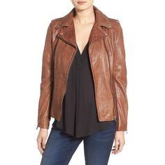 Women's Lamarque 'Terri' Lambskin Leather Moto Jacket ($495) ❤ liked on Polyvore…