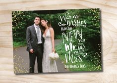 Glitter Confetti Photo Christmas Card newlywed just married chistmas card Typography  - Printable Holiday Card by PaperHeartCompany on Etsy