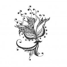 Fantasy flower, black and white tattoo pattern  Stock Photo