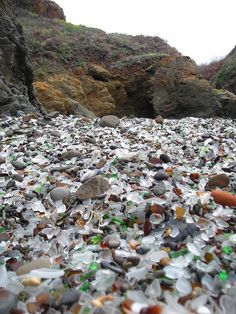 Glass Beach at Fort Bragg - used to be a garbage dump until folks realized that dumping garbage in the ocean was a giant no-no - now it's just a beach of sea glass - wow!
