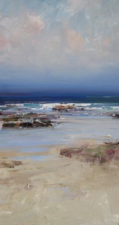 © Ken Knight <br />Rocks and Ocean<br>Oil on board<br>94 x 50<br>$7500 | Available