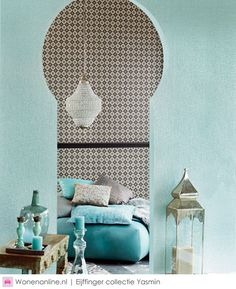 Gabby likes the colors and patterns here. The modern Moroccan living room reveals its secrets! Moroccan Decor Living Room, Morrocan Decor, Moroccan Interiors, Living Room Decor, Moroccan Lanterns, Moroccan Design, Moroccan Style, Style Marocain, Interior And Exterior