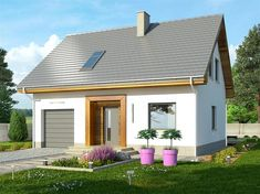 Zdjęcie projektu Iskra 2 WRN1239 Compact House, Bungalow House Design, Exterior Colors, Home Projects, Tiny House, House Plans, Shed, Villa, Outdoor Structures