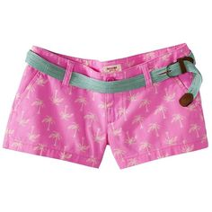 Mossimo Supply Co. Printed Canvas Short w/ Belt - Pink ($9.98) found on Polyvore