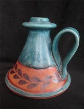 Redware Mexican Pottery Candle Stick Holder Blue Green South Western Leaf Motif