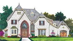 Home Plan HOMEPW22297 - 2713 Square Foot, 4 Bedroom 3 Bathroom European Home with 3 Garage Bays | Homeplans.com