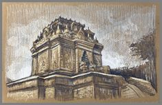 Travel Drawing: Mendut Temple, Java, Indonesia Prismacolor Pencil on Paper x 2017 Travel Drawing, Toned Paper, Urban Sketchers, Prismacolor, Cambodia, Pencil Drawings, Bali, Temple, Louvre
