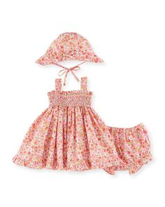 Floral+Poplin+Dress+Layette+Set,+Coral,+Size+12-24+Months+by+Luli+&+Me+at+Neiman+Marcus.