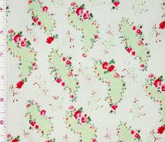 1YD Le Petite Jardin ROSE PAISELY Shabby Cottage Chic Pink Sage White Fabric #Chanteclaire