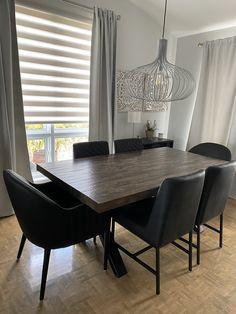 TABLE ORLÉANS - MERISIER - BRUNE CLAIRE - 72'' X 40'' X 2.5'' ÉPAIS - CHAISES MARVIN ET CHAISES DIXON CU009-5 #lusine #table #orleans #merisier #bruneclaire #chaise #marvin #dixon #cu0095 Dixon, Orleans, Marvin, Conference Room, Tables, Dining Table, Furniture, Home Decor, Light Brunette