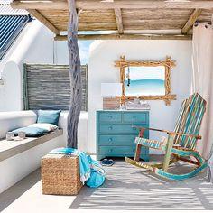 Trend Accesories - Meubles déco d'intérieur – Bord de mer Coastal Homes, Coastal Living, Coastal Decor, Seaside Decor, Deco Marine, House By The Sea, Mediterranean Decor, Balcony Design, Beach House Decor