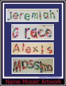 photo of: Student Names as Artwork in a Construction Paper Mosaic