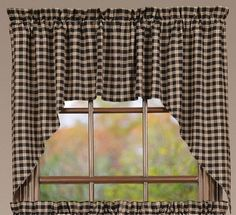 You will want to check out our Bingham Star Plaid Lined Swag Curtains! The sweet design along with the checked fabric make for beautiful coverage for y our windows. https://www.primitivestarquiltshop.com/products/bingham-star-plaid-lined-swag-curtains #countrystylecurtains