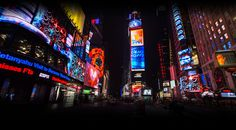 Times Square, the most bustling square of New York City, is known for its many Broadway theatres, cinemas and electronic billboards.