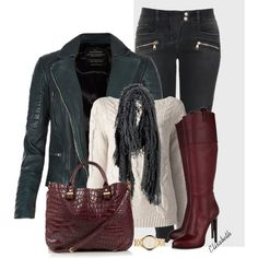 """""""Mixed Textures LEATHER & A SWEATER"""" by lbite1 on Polyvore"""