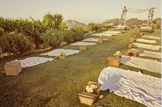 No tables at all! Just sit your #wedding guests down on a clean sheet on the ground with a #picnic #basket.