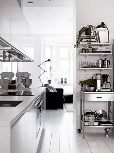 white and industrial kitchen