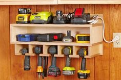 Get your garage shop in shape with garage organization and shelving. They come with garage tool storage, shelves and cabinets. Garage storage racks will give you enough space for your big items and keep them out of the way. Organisation Hacks, Shed Organization, Storage Organizers, Woodworking Organization, Organizing Tools, Charger Organization, Shelf Organizer, Organising, Wood Magazine