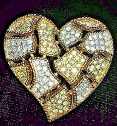 Vintage Brooch Pin Heart Kenneth J Lane KJL Rhinestones Openwork Signed Ornate   #KennethJayLaneKJL #Vintage