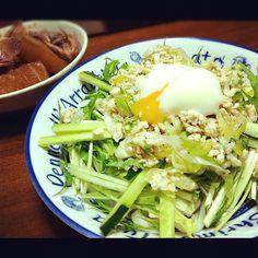 晩ごはん〜♪サラダうどんの水菜と、煮物の大根はお家で取れたて〜♪(´ε` ) - 49件のもぐもぐ - サラダうどん・イカと大根の煮物 by guppyee