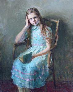 "Alexey Shalaev,""Girl with a Book"", 1993, canvas oil, 50.00 x 40.00 cm / 20 x 16 in"