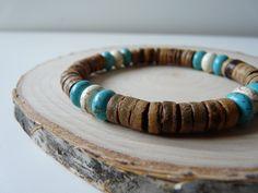 Wooden bracelet, Coconut wood and gemstone bracelet, 8 mm unisex bracelet, men's bracelet, Stretched bracelet, Boho jewelry, boho bracelet