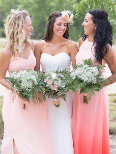 Mix and match bridesmaid hairstyles with curly and wavy half-up messy wedding hair.