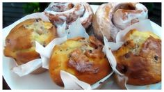 Blueberry Cheesecake muffins and Cinnamon Buns from Chrissy Beanz in Sackets Harbor.