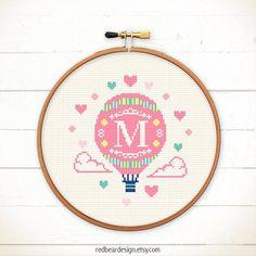Initial Cross stitch pattern PDF Hot Air Balloon by redbeardesign