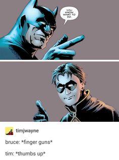 This is so adorable! Batwoman, Nightwing, Batgirl, Dc Comics, Tim Drake Red Robin, Dc Memes, Batman Family, Comic Panels, Detective Comics