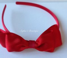Red satin double classic bow on matching by SophiesBowtiqueSI