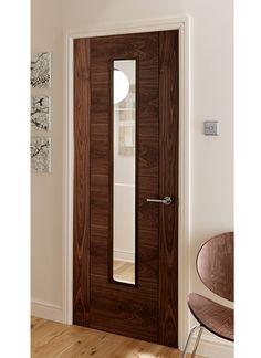 4 panel V Groove Walnut Pre-glazed Internal Door