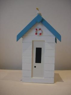 New White Wooden Beach Hut Seaside Money Box Piggy Bank With Seagull | eBay