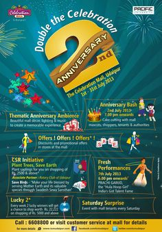 http://www.getitmalls.com/Pages/Event-Details.aspx?EventId=185 Celebrations are on at The Celebration Mall , Udaipur till 31st July