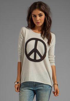 AUTUMN CASHMERE Peace Crew Sweater in Hemp/Pepper