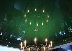 Not the color, but master ceilings? Thom Felicia's Gallery Room with a gorgeous poison green lacquer ceiling. Sky Ceiling, Ceiling Design, Ceiling Lights, Kips Bay Showhouse, Key Design, Felicia, Retail Design, High Gloss, Paint Colors