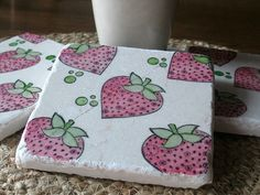 Whimsical Pink Strawberry Coasters Set of 4 by MyLittleChick, $18.00
