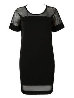 Vestido de cambio Panel Negro Sheer