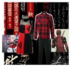 """""""Harleypool"""" by batgirl-at-the-walking-dead3 ❤ liked on Polyvore featuring Gucci, Sacai and DC Comics"""