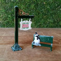 Miniature Christmas Sign & Snowman on Bench  by TheEnchantedAcorn