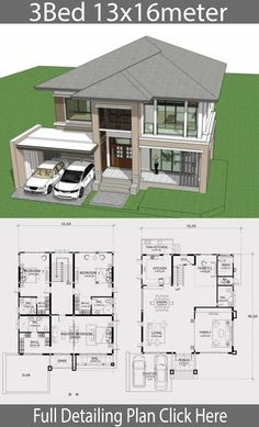 Home design plan with 3 Bedrooms. Two-story house Contemporary style Design a full area of ? House Plans Mansion, Craftsman House Plans, Dream House Plans, Modern House Plans, Modern House Design, House Floor Plans, Three Bedroom House Plan, House Design Pictures, Architectural House Plans