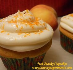 Just Peachy Cupcakes This luscious fruit is melted down into a compote, perfectly paired with delicate honey and buttermilk cake and topped with whipped cream cheese and peach frosting.