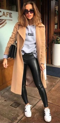 Camel Coat With Grey Hoodie, Black Leather Pants And White Sneakers 2019 Source by cindywitten pants outfit Mode Outfits, Casual Outfits, Fashion Outfits, Fashion Trends, Trendy Fashion, Fashion Vest, Blazer Outfits, Unique Fashion, Dress Fashion