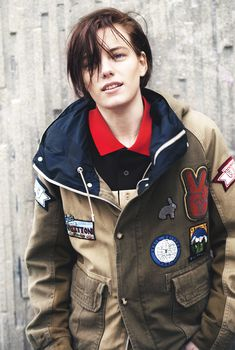Erika Linder (omg, love that chunky cozy jacket and nose ring combo, androgynous, tomboy fashion)