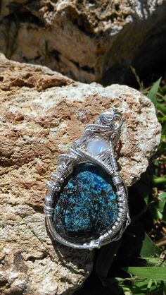 Nebula Azurite Chrysocolla Cuprite and by KarmicSutraCreations #custom #handmade #wirewrap #jewelry