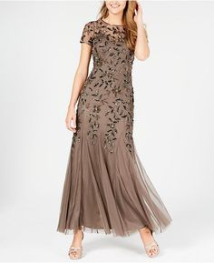 Adrianna Papell Petite Floral-beaded Gown In Lead Mob Dresses, Tea Length Dresses, Petite Dresses, Fall Dresses, Elegant Dresses, Wedding Dresses, Dresses Online, Mother Of The Bride Dresses Long, Mothers Dresses