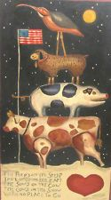 SPECTACULAR PRIMITIVE FOLK ART PAINTING WITH VERSE COW PIG LAMB BIRD FLAG  HEART