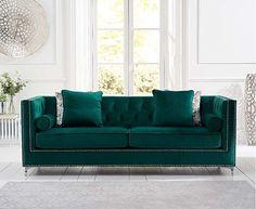 New York Green Velvet 4 Seater Sofa