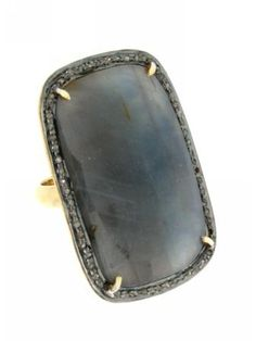 Sapphire Large Rectangular Ring at Jennifer Miller Jewelry